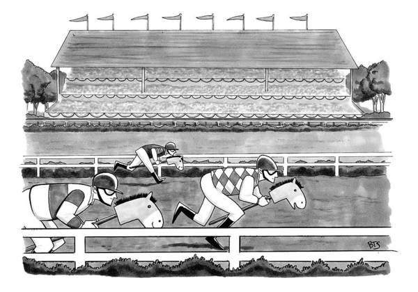Horse Race Drawing -  Men Race On Toy Horses by Benjamin Schwartz