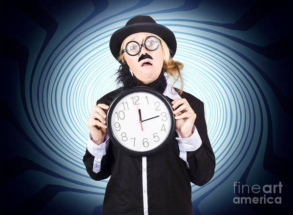 Deadline Wall Art - Photograph -  Nutty Professor With Clock. Crazy Science Time by Jorgo Photography - Wall Art Gallery