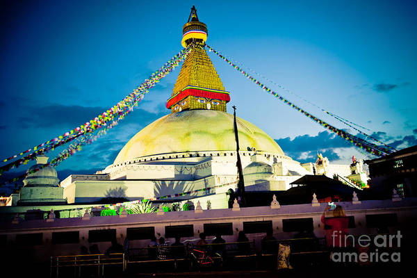 Photograph -  Stupa Boudhanath At Night In Kathmandu by Raimond Klavins