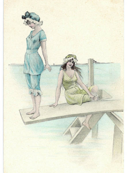 Bather Drawing -  Two Girls In Bathing Suits  One by Mary Evans Picture Library