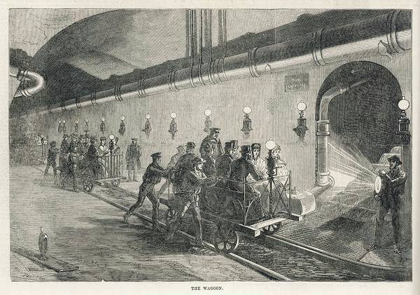 Wall Art - Drawing -  Visiting The Sewers Of Paris - by  Illustrated London News Ltd/Mar