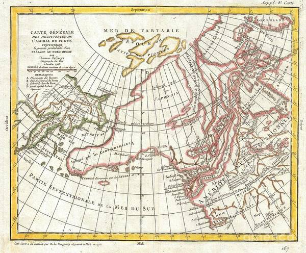 Sailing Terms Photograph - 1772 Vaugondy  Diderot Map Of Alaska The Pacific Northwest And The Northwest Passage by Paul Fearn