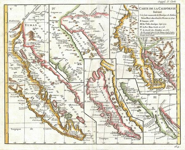 1604 Photograph - 1772 Vaugondy  Diderot Map Of California In Five States California As Island by Paul Fearn