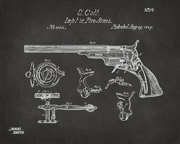 Wall Art - Digital Art - 1839 Colt Fire Arm Patent Artwork - Gray by Nikki Marie Smith
