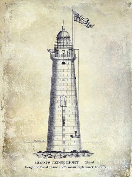 Elevation Photograph - 1852 Minot's Ledge Lighthouse by Jon Neidert