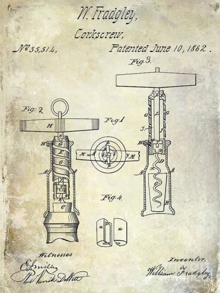 White Wine Photograph - 1862 Corkscrew Patent Drawing by Jon Neidert