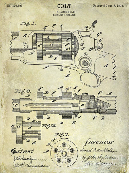 Revolver Photograph - 1892 Colt Patent Drawing by Jon Neidert