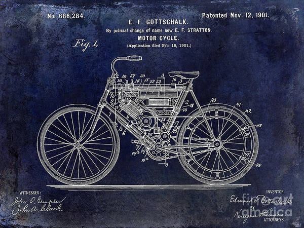 Victory Motorcycle Photograph - 1901 Motorcycle Patent Drawing Blue by Jon Neidert