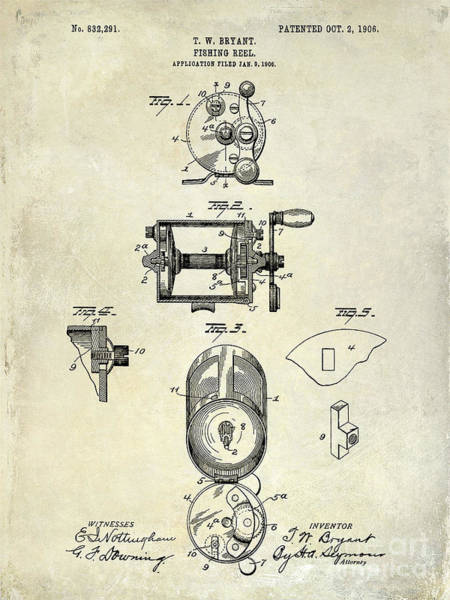 1906 Fishing Reel Patent Drawing Art Print