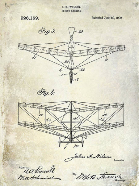 Vintage Airplane Drawing - 1909 Flying Machine Patent Drawing  by Jon Neidert