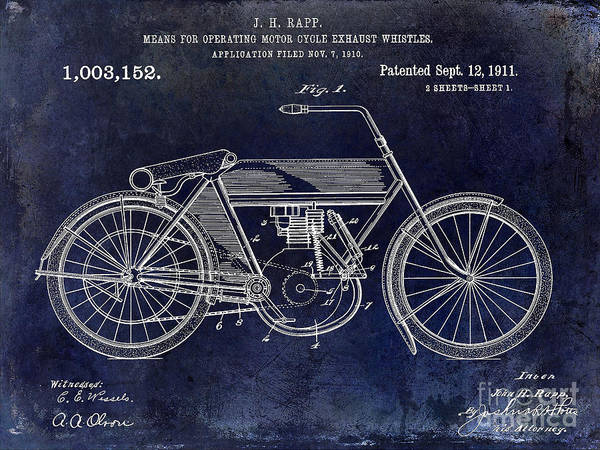 Victory Motorcycle Photograph - 1911 Motorcycle Patent Drawing by Jon Neidert