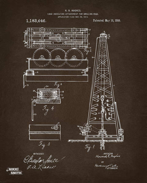 Digital Art - 1916 Oil Drilling Rig Patent Artwork - Blueprint by Nikki Marie Smith