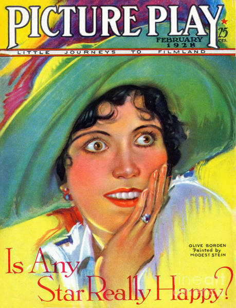 Wall Art - Drawing - 1920s Usa Picture Play Magazine Cover by The Advertising Archives