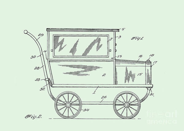 Digital Art - 1921 Kilmer Patent Baby Carriage-green by Lesa Fine