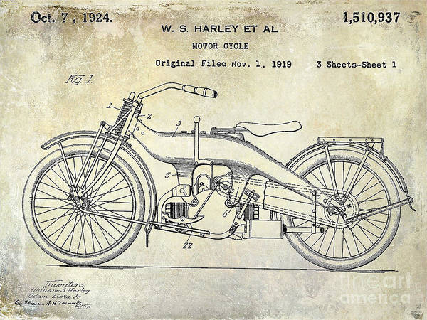 Patent Drawing Wall Art - Photograph - 1924 Harley Davidson Motorcycle Patent  by Jon Neidert