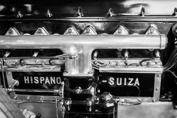 Photograph - 1924 Hispano-suiza Engine Emblem -0120c by Jill Reger