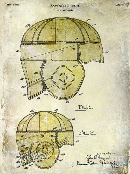 Wall Art - Photograph - 1925 Football Helmet Patent Drawing 2 Tone by Jon Neidert
