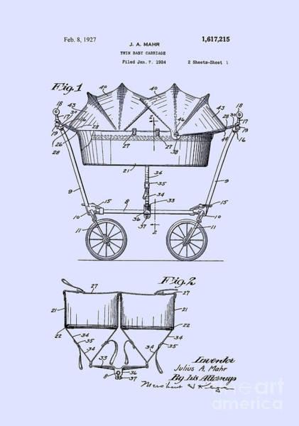 Digital Art - 1927 Baby Twin Baby Carriage-blue by Lesa Fine