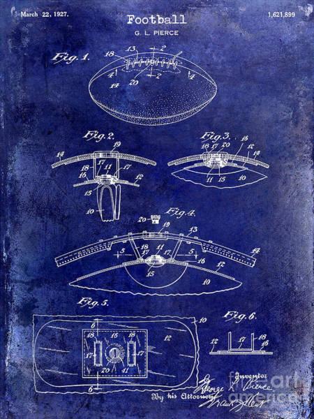 Wall Art - Photograph - 1927 Football Patent Drawing  Blue by Jon Neidert