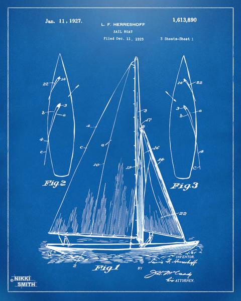 Sailors Digital Art - 1927 Sailboat Patent Artwork - Blueprint by Nikki Marie Smith