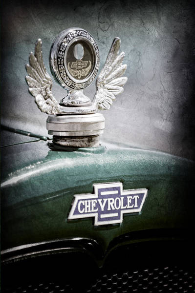 Photograph - 1928 Chevrolet Stake Bed Pickup Hood Ornament - Emblem by Jill Reger