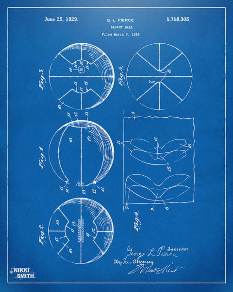 Weird Digital Art - 1929 Basketball Patent Artwork - Blueprint by Nikki Marie Smith