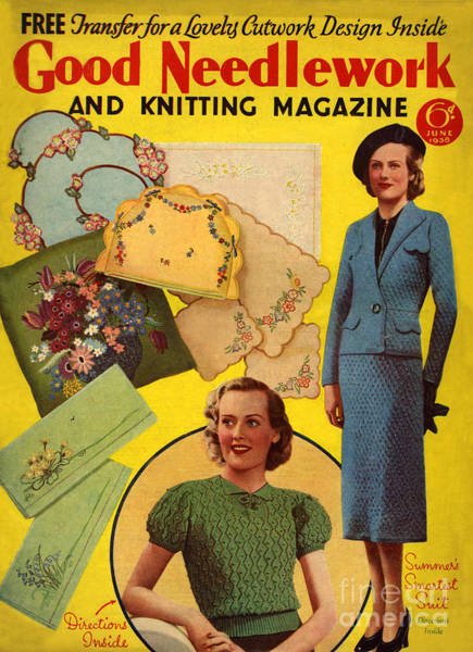 Wall Art - Drawing - 1930s Uk Good Needlework And Knitting by The Advertising Archives