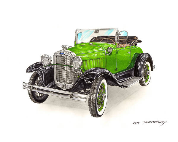Classic Car Drawings Painting - 1931 Ford Model A Roadster by Jack Pumphrey