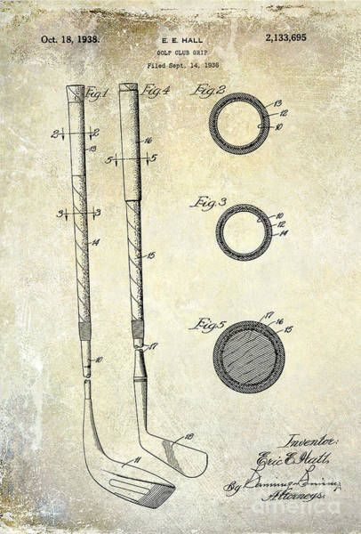 Golf Green Photograph - 1938 Golf Club Grip Patent Drawing by Jon Neidert