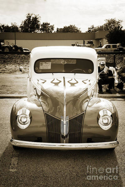 Photograph - 1940 Ford Pickup Truck Front End Car Or Automobile In Sepia  313 by M K Miller