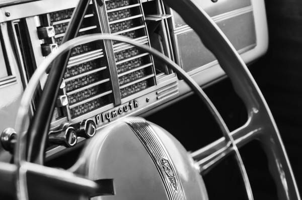 Photograph - 1940 Plymouth Deluxe Woody Wagon Steering Wheel by Jill Reger