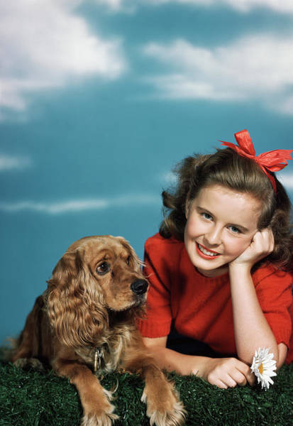 Cocker Spaniel Photograph - 1940s 1950s Smiling Teen Girl by Animal Images