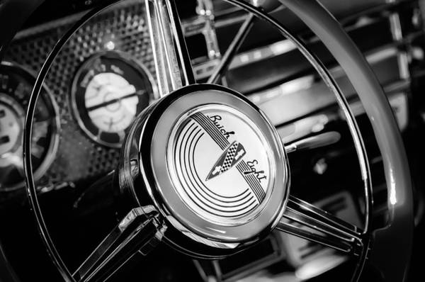 Photograph - 1941 Buick Eight Special Steering Wheel Emblem by Jill Reger