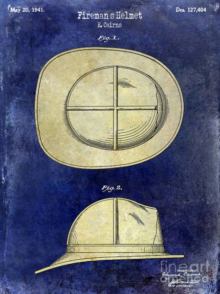 Firemen Photograph - 1941 Firemans Helmet Patent Drawing 2 Tone  by Jon Neidert