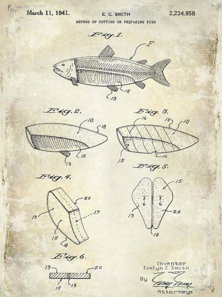 Redfish Lake Photograph - 1941 Fish Cleaning Patent Patent Drawing Blue by Jon Neidert