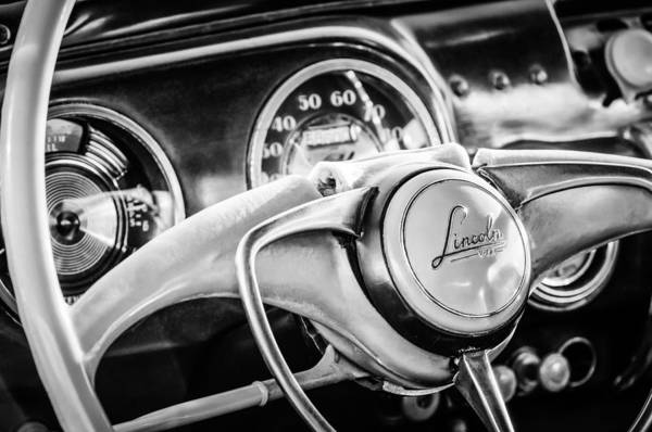 Coupe Photograph - 1941 Lincoln Continental Coupe Steering Wheel Emblem -0858c by Jill Reger