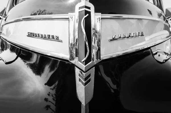 Photograph - 1941 Studebaker Champion Grille Emblem -0053bw by Jill Reger
