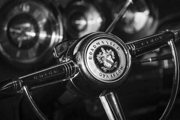 Photograph - 1949 Buick Roadmaster Riviera Coupe Steering Wheel Emblem by Jill Reger