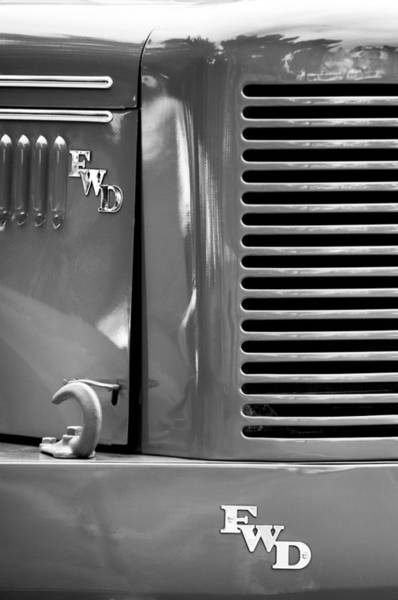 Firetruck Photograph - 1950 Four Wheel Drive Pumper Fire Truck Emblems by Jill Reger