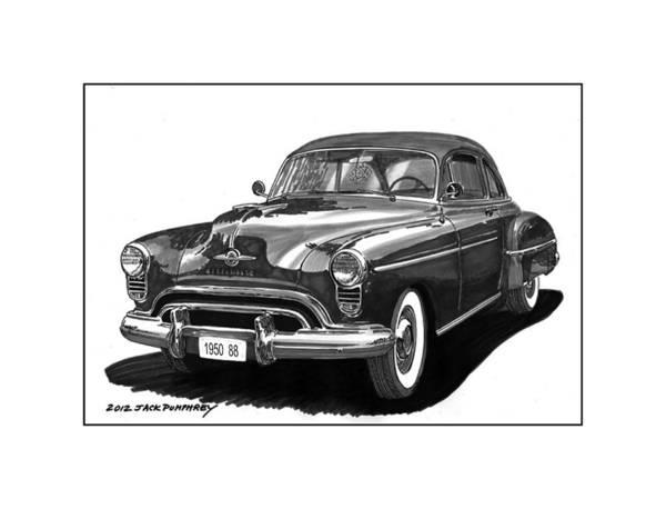 Vintage Car Drawing - 1950 Oldsmobile Rocket 88 by Jack Pumphrey