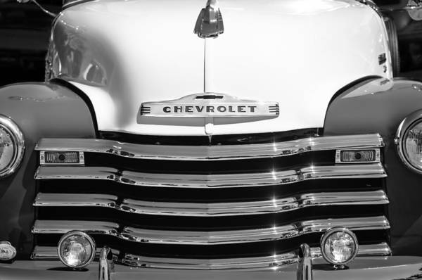 Photograph - 1952 Chevrolet Pickup Truck Grille Emblem by Jill Reger