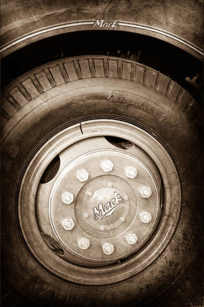 Wall Art - Photograph - 1952 L Model Mack Pumper Fire Truck Wheel Emblem by Jill Reger
