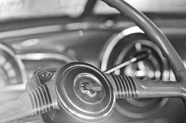Photograph - 1952 Pontiac Chieftain Steering Wheel Emblem by Jill Reger