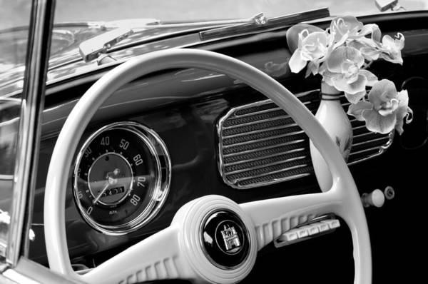 Vw Bug Photograph - 1952 Volkswagen Vw Bug Steering Wheel by Jill Reger