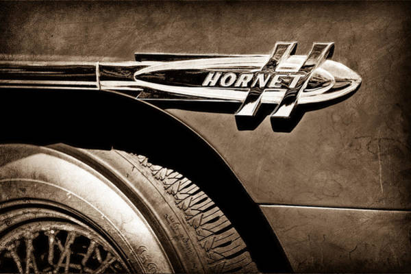 Photograph - 1953 Hudson Hornet Side Emblem by Jill Reger
