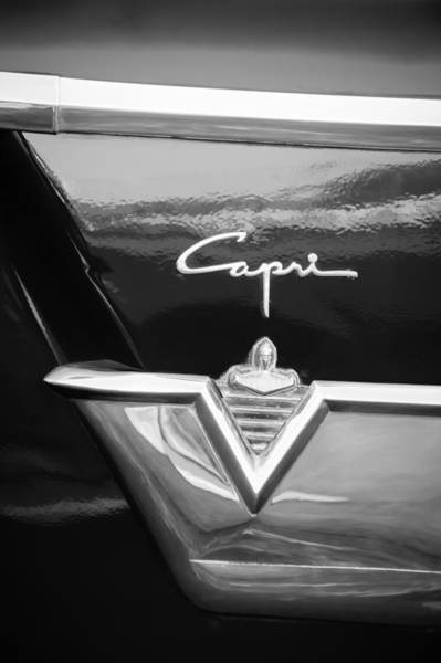 Photograph - 1954 Lincoln Capri Emblem -1177bw by Jill Reger