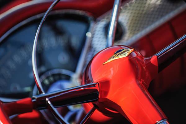 Chevy Bel Air Photograph - 1955 Chevrolet Bel Air Convertible Steering Wheel Emblem by Jill Reger
