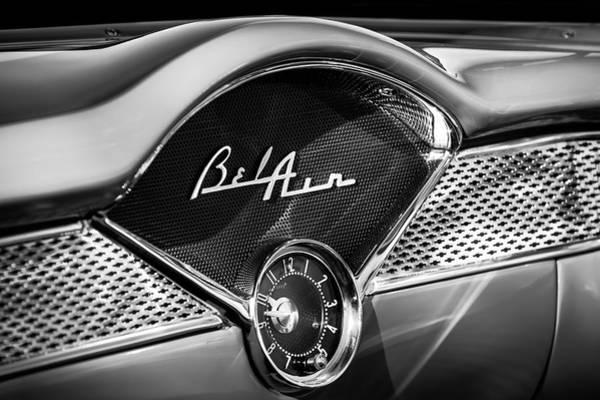 Chevrolet Bel Air Photograph - 1955 Chevrolet Belair Dashboard Emblem Clock by Jill Reger