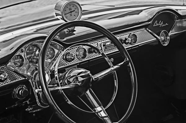 Steering Wheel Wall Art - Photograph - 1955 Chevrolet Belair Steering Wheel - Dashboard Emblems by Jill Reger