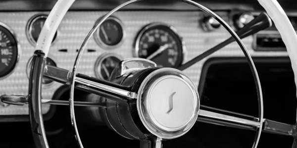 Steering Wheel Wall Art - Photograph - 1955 Studebaker President Steering Wheel Emblem by Jill Reger